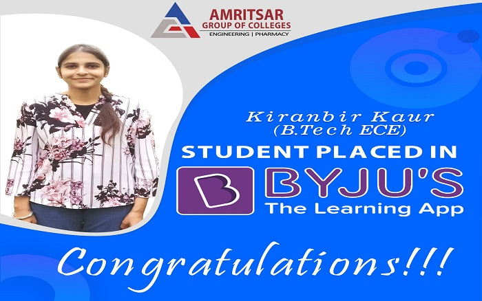 Ms. Kiranbir Kaur (B. Tech ECE) has been placed iin #BYJU